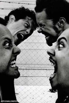 Group hug, Metallica style  Featuring (left to right) Lars Ulrich, Jason Newstead, James Hetfield and Kirk Hammett