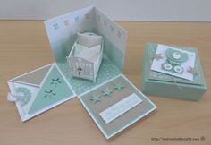 stampin up, explosion box , baby