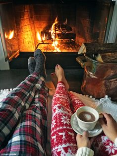 hot chocolate cocoa by fireplace freeport inn pajamas
