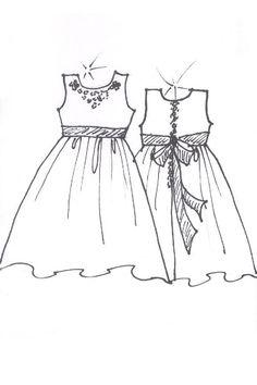 White Lace Dress Girls Sketch