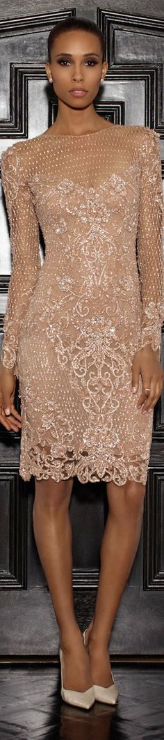 Lorena Sarbu 2015 Resort Collection - golden embroidery embellished nude lace dress