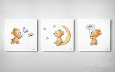 Set of 3 Cute Teddy Bears - Archival Prints- Animal Nursery Wall Set - Children's Art - Nursery Wall Art - Children's illustration - by AnnaAbramskaya on Etsy