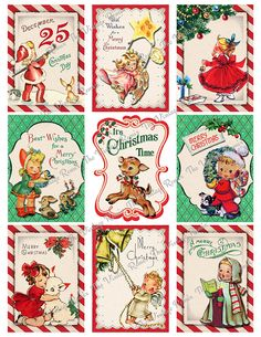 Printable digital collage sheet of retro-vintage Christmas tags and labels.    Now offering INSTANT DOWNLOADS...you will find a link to your download on your purchase receipt. A link will also be sent to your Etsy e-mail address with-in minutes after purchase.    Each ATC/ACEO image measures 2.5 x 3.5 inches and the full JPG file size is 8.5 x 11 inches in high resolution 300 dpi...the perfect resolution for printing.    Images can be printed onto cardstock, sticker sheets, photo paper…
