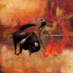 Oil Painting of the Famous Sport: Bull Fighting. Available: Original / Giclee Prints on Canvas Check it out at: http://fineartamerica.com/featured/impressionistic-bullfighting-corporate-art-task-force.html