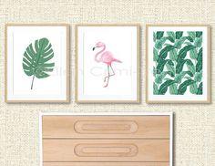 Tropical print set, tropical wall art, flamingo, watercolor banana leaves, watercolor philodendron leaf, watercolor decor