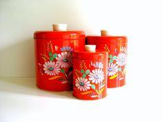 Vintage Ransburg Orange Floral Kitchen by RollingHillsVintage, $36.00
