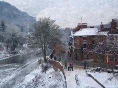 A Wintry Street Scene in Ironbridge Gorge England in Digital Oil by Sarah Broadmeadow-Thomas Christmas Scenes, Christmas Images, Abraham Darby, I Love Winter, Museums, Around The Worlds, England, Design Ideas, Spaces