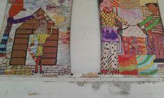 gigantografias montadas sobre telas plasticas a partir de trabajos colectivos donde todos los niños aportaban a las figuras y el fondo