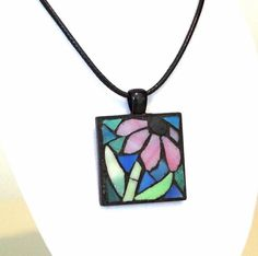 Stained glass purple coneflower mosaic pendant necklace by ShellyHeissDesigns Fused Glass Jewelry, Fused Glass Art, Stained Glass Art, Glass Pendants, Stained Glass Projects, Stained Glass Patterns, Mosaic Patterns, Mosaic Crafts, Mosaic Art