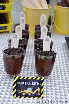 Boy's Construction Birthday Party Mud Bucket Ideas