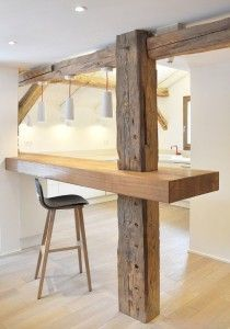 Great ideas to hide/use the basement support beams.