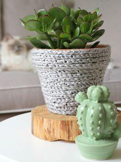 Is het niet leuk geworden? Dit gehaakte bloempotje met een vetplantje er in? Ik vind het altijd zo leuk, die gehaakte dingen.. Maar aangezien ik zelf niet kan haken wordt dat vrij lastig ;-)! Nou, met