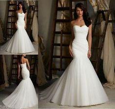 New White/ivory Mermaid Wedding Dress Bridal Gown stock size 6-8-10-12-14-16