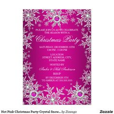 Hot Pink Christmas Party Crystal Snowflake 5x7 Paper Invitation Card