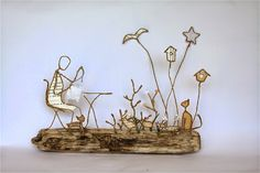 Epistyle: La brodeuse qui aimait les oiseaux Wire Crafts, Diy And Crafts, Clay Projects, Projects To Try, Sculptures Sur Fil, Old Book Crafts, Cheap Art, Steel Art, Wire Weaving
