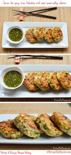 A recipe for fishcakes are super easy to make, healthy, gluten-free and very inexpensive using simple pantry items. If you like Thai and Asian flavors, then these fishcakes are definitely for you! Tinned Tuna Recipes, Fresh Tuna Recipes, Healthy Tuna Recipes, Tuna Fish Recipes, Paleo Recipes, Asian Recipes, Great Recipes, Healthy Eating, Cooking Recipes