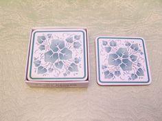 Set of six Corelle Coordinates cork backed coasters Callaway pattern Corningware original box by BigGDesigns on Etsy