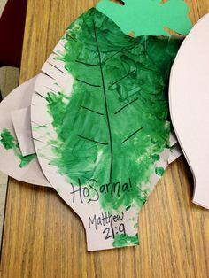 Palm leaves for Easter kids craft: Read the story in Matthew together then paint & wave the palms!