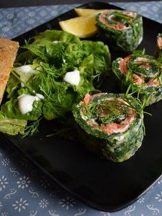 lakseruller med laktosefri flødeost og spinatbund