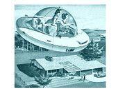Mid century modern, 8x8 print, mint, teal, flying saucer, retro, atomic, mad men, eames era. $25.00, via Etsy.