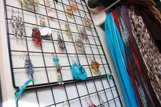 Hang Wire Cube Panels held together with colorful ribbon for a quick and easy jewelry organizer