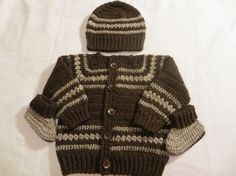 Baby boy sweater set crochet baby sweater brown and tan by KEL2D2, $35.00