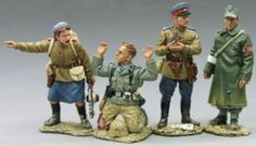 World War II Russian Army RA012 Russian Soldiers with Captured German Prisoners - Made by King and Country Military Miniatures and Models. Factory made, hand assembled, painted and boxed in a padded decorative box. Excellent gift for the enthusiast