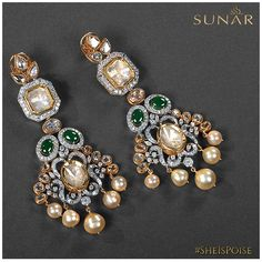 Polki shine and glitter have been blended with the opulence of diamonds to form this mesmeric pair of earring from the house of Sunar Jewels Diamond Earrings Indian, Indian Jewelry Earrings, Indian Wedding Jewelry, India Jewelry, Antique Earrings, Bridal Jewelry, Jewelery, Gold Jewellery, Antique Jewellery Designs