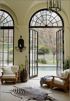 Minus the dead zebra on the floor, I love this room.  Esp. the french doors.