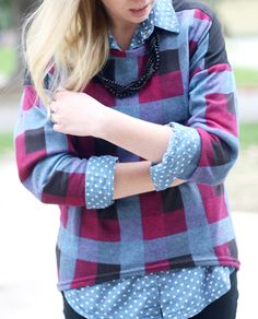 Plaid + Chambray + Painted Necklace. | http://prettylifeanonymous.blogspot.com/