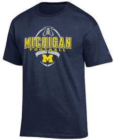 Michigan Wolverines Blue Football Short Sleeve T Shirt by Champion $19.95