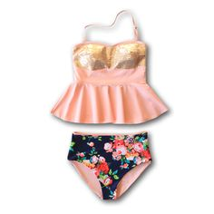 **This suit is on Pre-Order** **Shipping Date: This sequin-top peplum tankini is as feminine and fun to wear as it gets. It's also high-quality, comfortable, and flattering! What more does a gir Modest Swimsuits, Women's One Piece Swimsuits, Cute Swimsuits, Teen Swimsuits, Modest Bikini, Summer Outfits, Cute Outfits, Summer Clothes, Textiles