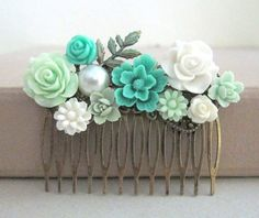 JEWELSALEM -- Teal Hair Comb Wedding Aqua Turquoise Seafoam Mint White Bridesmaids Gift Bridal Head Piece Floral Flowers Comb Vintage Style Shabby Chic