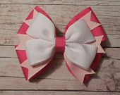 Items similar to Valentines Day Hair Bow - Valentine's Day Hair Accessory - Pink and White Hair Bow - 4'' - Single Bow - Ready To Ship on Etsy