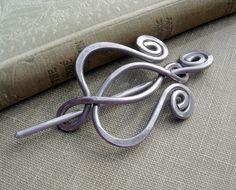 Unfurling Tulip Flower Lyre Aluminum Shawl Pin, Scarf Pin, Fastener, Sweater Brooch - Hammered Metal - Women, Knitting Accessories