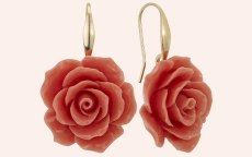 Zoccai 925 Pink Coral Rose Dangle Earrings In Sterling Silver