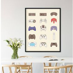 Video Game Controller Video Game Poster Video Game Decor Game Room Decor Xbox One Video Game Art Gift Video Game Print Nintendo Poster by thepixelprince