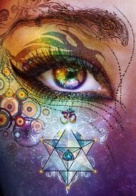 age of aquarius symbol, rainbow tribal eye, om