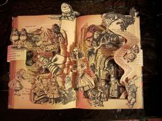 Book sculpture  Alice in Wonderland  Altered Book by Vicki Thompson of thompson35 on ETSY