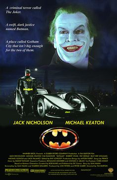 Batman directed by Tim Burton and starring Michael Keaton as Batman and Jack Nicholson as the joker. Used to be shown a lot on Channel 11 when it was the WB and Tbs as well. Tim Burton Batman, Im Batman, Batman Art, Batman Superhero, Jack Nicholson, Dc Movies, Great Movies, Cult Movies, Batman Poster