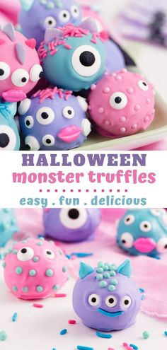 Monster truffles are super easy and totally adorable! The perfect Halloween treat! They're made with a peanut butter filling and covered in white chocolate. Peanut Butter Truffles, Best Peanut Butter, Peanut Butter Filling, Peanut Butter Desserts, Creamy Peanut Butter, Halloween Desserts, Halloween Cakes, Halloween Treats, Mini Chocolate Chips