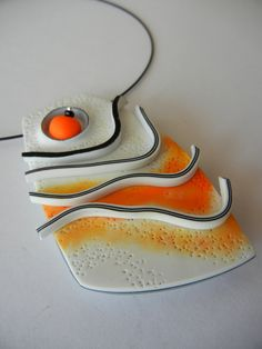 """New Wave"" - polymer clay pendant by Sonya Girodon."