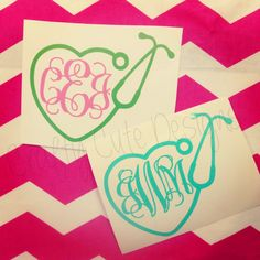 Heart Stethoscope Monogrammed Decal by CraftyCuteDesignsNC on Etsy, $6.00