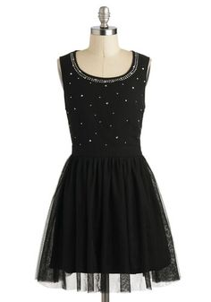 """Modcloth Prose and Constellations Dress by Moon Collection. Size M. NWT. Very sad reswap. I love this dress, but it absolutely will not zip over my ribcage. Has sparkly gems on the top, with a tulle skirt. Bust 17"""", waist 14"""", length from waist 18"""""""