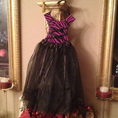 Purple Zebra TuTu Bow Holder - All are unique and individually made. Brand New! One of a kind! Use bodice to put photos in and ribbons on tutu could hold hair clips .. Or just use as beautiful room decor! Tutu Bow Holders  Other