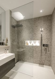Modern bathroom shower tile walk in shower ideas services modern bathroom Contemporary Shower, Contemporary Bathroom Designs, Modern Bathroom Decor, Bathroom Layout, Basement Bathroom, Bathroom Interior, Bathroom Ideas, Shower Ideas, Modern Bathrooms