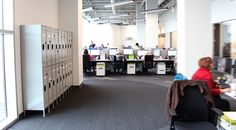 PatientPoint's new open design and collaborative work spaces have changed the feeling of working for the growing technology company for the better. Open Spaces, Work Spaces, Lockers, Locker Storage, Technology, Cabinet, Furniture, Design, Home Decor