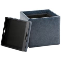 Pendon Cube Storage Ottoman with Tray, Quick Ship ($119) ❤ liked on Polyvore featuring home, furniture, ottomans, denim blue, compact furniture, flip top ottoman, cube footstool, faux leather furniture and faux leather ottoman