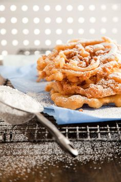 Paula Deen Funnel Cakes. Just made these, substituted vanilla butter & nut favoring in place of vanilla, and they were amazing.