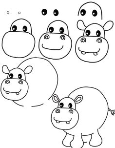 dessin hippopotame                                                                                                                                                                                 Plus